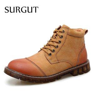 SURGUT Winterstiefel Männer Ankle Boots aus Leder Top Qualität Warmhalte Schnee-Mann-Mode Herbst Breath Chaussure Homme
