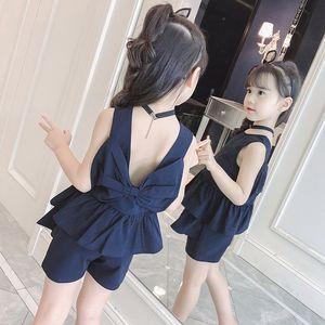 j4aBE STzdQ Kız takım takım elbise yabancı tarzı yaz moda kızlar yelek 'sırtı açık Super yeni yelek iki parçalı 2020 orta giysi büyük kızlar'