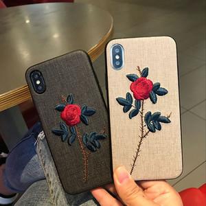 Bordado de la flor de Sakura Teléfono Cubiertas estilo japonés Embroid Casos Modelo tejido PC + TPU Shell teléfono para el iPhone 7 8plus XR X MAX 11