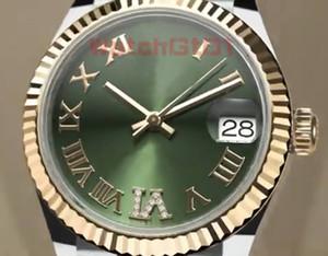 Top-Qualität Damen-Frauen-Uhr 31mm Dial Frauen-Datums-Diamant-Saphir-Dial Automatik-Uhrwerk mechanische Rose Gold Uhren Armbanduhr