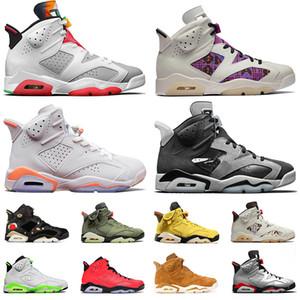 Мужчины 6 HARE 6s Баскетбольная обувь Jumpman VI Кактус Джек Джек Джек Джем Серый Quai 54 Hommes Размышления о чемпионах Спортивные кроссовки