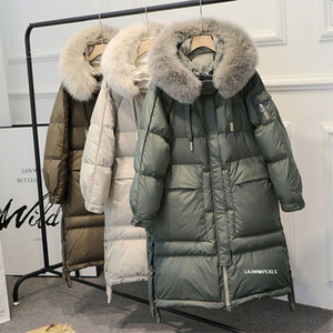 Зима 90% белая утка вниз Parka Женщины Теплый Большой Real Natural Fox меховой воротник с капюшоном Длинные сгущает куртки и пальто вниз Outwear T200905