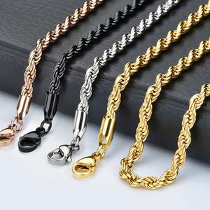 Großhandel 2,4 mm Twist Kette 18-32 Zoll Silber / Gold / rosafarbenes Gold / schwarz Edelstahl Twist Ketten-Halsketten-Schmucksachen für Frauen / Männer