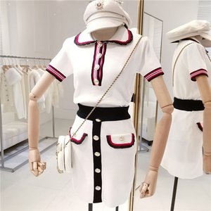 Amolapha Women Striped Knitted Tops Skirts Suits Short Sleeve Turn-down Collar Buttons Fashion Clothing Sets for Woman