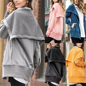 Coats 20FW Neue Frauen Hoodies beiläufige Solid Color Langarm Asymmetrische Cardigan mit Cape Fashion Damen