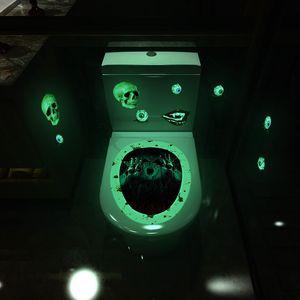 발광 화장실 스티커 공포 해골 마녀 주제 제스처 욕실 변기 스티커 할로윈 화장실 홈 인테리어 EWE1884