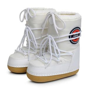 SWONCO zapatos caliente botas de nieve Invierno de la mujer Plataforma Luna Botas Espacio Mujer 2019 Cálido invierno de terciopelo de piel botas del tobillo snowboots Y200114