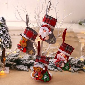 Christmas Stockings, 3D Xmas Stockings Character Plush Santa, Snowman, Reindeer, Bear for Christmas Tree Decorations MY-inf 0395