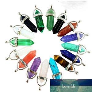 Venta caliente encantos collar de piedras preciosas collar de cristal de cuarzo natural de la roca Curación Punto Chakra colgante de piedra