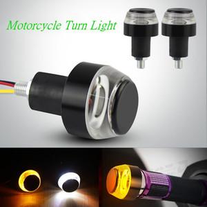 12V DC الدراجات النارية LED المقود نهاية بدوره إشارة الضوء الأبيض الأصفر المتعري التعامل مع قبضة بار الضوء الوامض الجانب ماركر مصباح