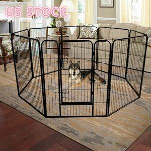 US STOCK Folding Metal Exercise Pen Pet Playpen,8-Panel Heavy Duty Large Dog Fence, Cat Puppy Pet Exercise Playpen Indoor Outdoor W24101525