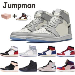Jumpman 1 1s basquete sapatos das sapatilhas dos homens lobo vela cinza zoom destemido branco piloto azuis mulheres formadores preto chicago cristal homens com caixa