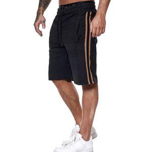 Men Plaid Shorts Summer 2020 Side Striped Trunks Beach Board Short Pants Mens Loose High Waist Stretch Running Sports Shorts