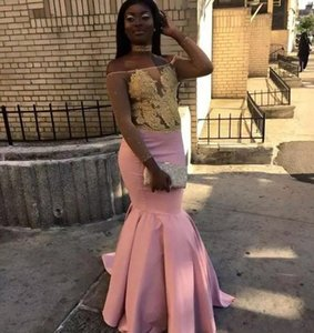 2020 Cheap Amazing Pink Long Sleeve Prom Dresses Gold Lace Applique Illusion Mermaid Formal Evening Dresses African Prom Party Gowns