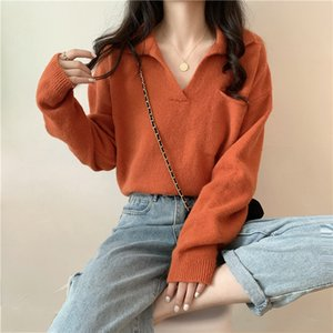 2020 Women Woolen Pullover Korean Style Loose Long-Sleeved Pullover Woolen Sweater Solid Casual Knit Sweater V-neck Jumper