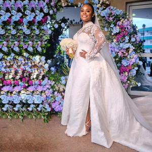 Luxury African Nigeria Mermaid Wedding Dresses With Detachable Train High Neck Lace Long Sleeve Castle Wedding Gowns Plus Size L55