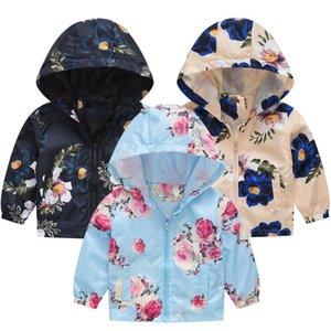 Cartoon Floral Flowers Kids Boys Girls Jackets Children Hooded Windbreaker Infant Waterproof Hoodies Baby Coat For Kids 1-5T