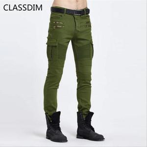 CLASSDIM dünne Jeans Herren Moto Biker Stil Denim-Hose-Qualitäts-Männer armygrün dünne Denim-Jeans elastisch