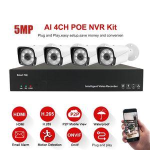 4CH 5MP POE Kit H.265 del sistema di sicurezza del CCTV Fino a 8 TB NVR esterna impermeabile allarme IP telecamera di videosorveglianza P2P 3TB HDD