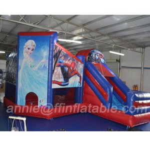 Коммерческая Bouncer Slide Combo Сказочной Theme Snow Kids Надувные Отказы с горкой Cartoon Character Bouncy Combo Dry слайдом с воздуходувкой