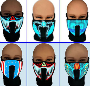 cycling masks Sound Activated Mask Costume Light Up Halloween Party Luminous Voice Control Mask for Party Cosplay KKA8046