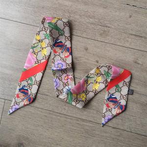 2019 nueva marca impresa bufanda de doble cara de poliéster para bolsos y bufandas de las mujeres de moda se puede dar como regalos