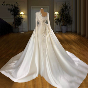 Luxury Design Wedding Dresses White with Long Sleeve 2021 shiny beaded pearls Detachable Skirt Bridal Gowns Wedding Gowns 2020
