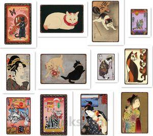 Sinal japonês Samurai Cat Tattoo Metal Wall Art Bar Tin sinal do metal Pet Cat Plaque Vintage Home Decor gasto Pin Up metal Poster