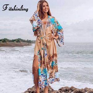 Fitshinling Drucken Blumenstrand Kimono Sommer-böhmische Schärpen Split Sexy Vertuschung-Badebekleidung Big Sleeve dünne lange Strickjacke verkaufen Neu