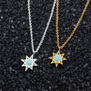 Fashion Star Pendant Necklace For Women Jewelry Stainless Steel Gold Chain Shining Polaris Choker Necklaces Best Friend Gift