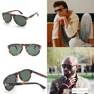 Fashion designer sunglasses 649 classic retro Pilot frame glass lens UV400 protection eyewear with leather case