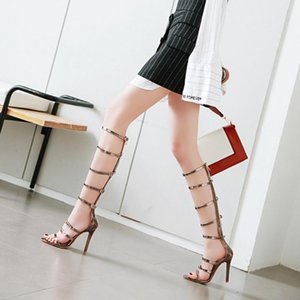 Narrow Bands thigh high boots open toe cut out strappy gladiator heels summer booties ladies cuissardes over the knee boots 48