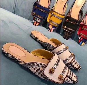 Mode Sandales d'été Flats sexy en cuir véritable plate-forme rsandals Flats chaussures glissent pantoufle chaussures sandales plage des dames de F2