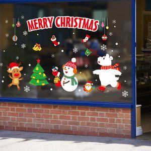 Cartoon waterproof Santa Claus shop window glass door sticker Christmas day wall sticker wallpaper DIY self adhesive