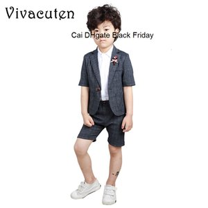 Summer Boys Solid Formal Wedding Suit Kids Fashion Middle Suit Coat Pants Gentleman Boys Cotton Party Clothing Set 2pcs F188