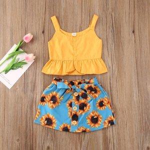 Conjuntos de ropa Ropa para niñas para niños pequeños 1-5y Niños Sin mangas Buttervested Ruffles Tops + Pantalones cortos de impresión floral Trajes de nacimiento de verano