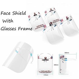2020 Trump Biden Yüz Kalkanı ile Gözlük Çerçevesi Karşıtı Sıçrama İzolasyon Maskeler Şeffaf Yeniden kullanılabilir Koruma Yüz Deniz Kargo DDA448 Maske