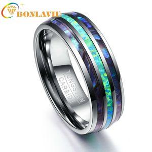 Inlay Abalone Shell + Opal + Abalone Shell вольфрама сталь Кольца для мужчин 8мм Ширина Элегантный Smooth Mens кольцо Top Grade