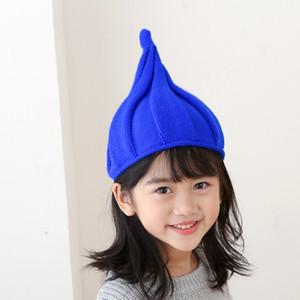 Children Adult Autumn winter pointed hat knitted Beanie nipple cap solid color twist cap Parent-child hat lxj075