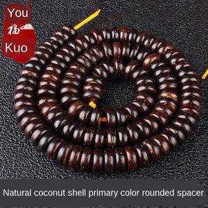 color de fondo negro Loach primaria natural de Buda pulsera del grano junta de cáscara de coco de cáscara de coco pulsera de perlas de Buda partición Indonesia gra