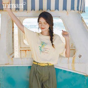 INMAN 2020 Summer New Arriavl Literary Round Collar Printed Loose Short Sleeve T-shirt 0924