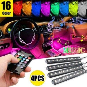 1set (4pcs) Intérieur voiture Atmosphere LED RGB Strip lumière Dash sol Pied 12V Strip lumière décorative éclairage multiple + RF Controler