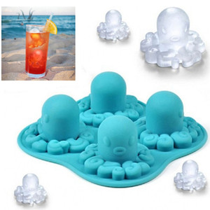 Entzückende Octopus-Eis-Form neue kreative Silikon-Eis-Behälter-Form-Küche-Stab-Kühl Fruchtsaft Trinken Netter Eiscreme-Hersteller VT1516