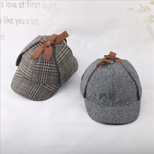 SHOWERSMILE Sherlock Holmes Hat Unisex Winter Wool Berets For Men Deerstalker Tweed Cap Accessories British Detective Hat Women T200720