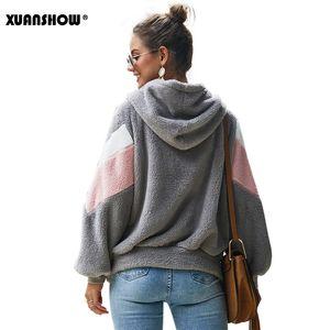 XUANSHOW Winter-Unterhalt warme Kleidung Damen Hoodies Sweatshirts lose Zipper Langarm-Taschen-Stitching-Plüsch-Jacken-Mantel-200922
