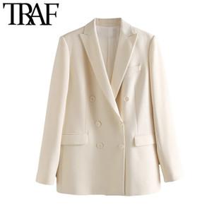 TRAF Frauen arbeiten Büro Wear zweireihiger Blazer-Mantel-Weinlese-lange Hülsen-Taschen Female Oberbekleidung schicke Tops