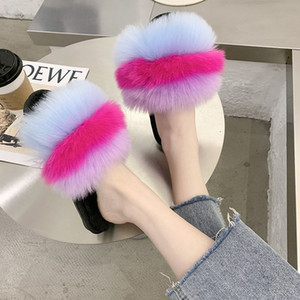 Hot Sale- Rainbow Plush Slipper 2020 Summer New Style Household Outer Wear Anti-slip Warm Cotton Slippers