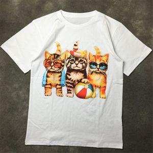 Street Fashion Famous Mens T Shirt 20ss High Quality Three Kittens print Pullover Polo Short Sleeve T shirts Men Women Couples Stylist Tee