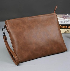 Crazy horse PU leather Brown fashion mens briefcases Man Business Handbag envelope style bag Drop Shipping