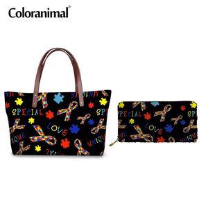 Coloranimal 네오프렌 탑 핸들 가방 여성 세트 Tote Bag 브랜드 디자인 자폐증 인식 인쇄 골목 Feminino 대형 핸드백 숙녀